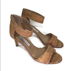 Diane Von Furstenberg Kinder Cork Sandals Gold Tan